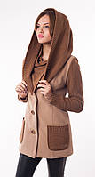 Женское комбинированное пальто с довязом