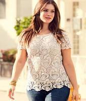 Ажурная блуза большого размера