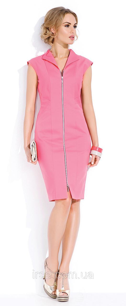 Летнее платье розового цвета c коротким рукавом на молнии. Модель Savana Zaps