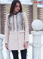 Пальто розовое с мехом