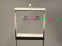 Рамка для эпоксидной смолы квадрат (25мм), серебро