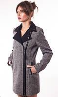 Женское комбинированное пальто на молнии