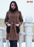 Пальто теплое с мехом