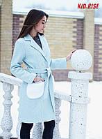 Пальто теплое голубого цвета