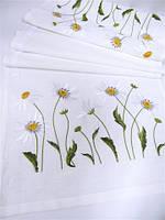 """Доріжка з вишивкою """"Ромашкове поле"""" біла(40*135 см.)"""