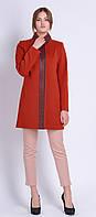 Женское кашемировое пальто с кожаной отделкой