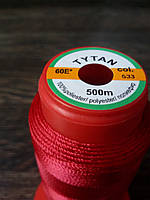 Нитка швейная TYTAN N60 533 цвет красный 500м. Турция