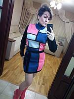 Женское вязаное платье-туника под горло