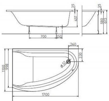 KOLO MIRRA ванна асимметричная 170*110 см, левая, с ножками и элементами крепления, белая, фото 2
