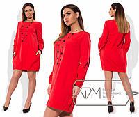 Прямое платье с карманами в расцветках (батальные размеры) u-15151120