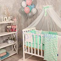 Набор в детскую кроватку Baby Design звезды мятные (7 предметов)