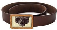Молодежный кожаный ремень с закрытой пряжкой Девайс Мейкер 09-01-219 ЧЕРЕП коричневый ДхШ: 120х4 см.