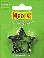 Каттер Makin's металлический для работы с полимерной глиной, Звезда, 3шт.