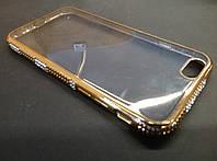 Чехол силиконовый для iPhone 6/6s, прозрачный со стразами