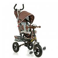 Детский велосипед трехколесный X-Rider GT Trike с надувными колесами коричневый
