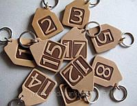 Номерок из натуральной кожи для ключей в виде домика