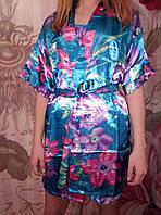 Женский молодежный короткий халат комплект