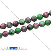 Бусина натуральный камень Рубин в цоизите, 8 мм, Круглая, 1 шт (BUS-018928)