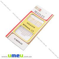 Набор иголок-легковдевателей с золотым ушком 1/5, 12 шт, 1 набор (SEW-018987)