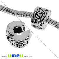 Бусина-стоппер PANDORA мет. Цветок, 10х6 мм, Античное серебро, 1 шт (BUS-019016)