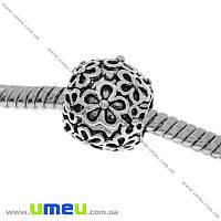 Бусина PANDORA мет. Цветы, 11х10 мм, Античное серебро, 1 шт (BUS-006466)