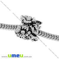 Бусина PANDORA мет. Цветы, 11х11 мм, Античное серебро, 1 шт (BUS-006482)