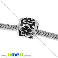 Бусина PANDORA мет. Цветы, 9х8 мм, Античное серебро, 1 шт (BUS-006459)