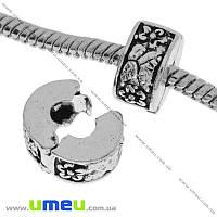 Бусина-стоппер PANDORA мет. Цветы, 10х6 мм, Античное серебро, 1 шт (BUS-019015)