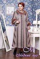 Женское теплое зимнее пальто-трапеция (р. 48-62) арт. П - 307 Vu+Unito Тон 111