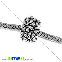 Бусина PANDORA мет. Цветы, 11х7 мм, Античное серебро, 1 шт (BUS-004236)