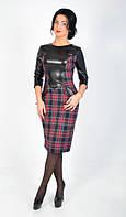 Интересное платье в клетку с кожанными вставками