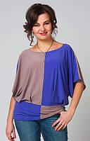 Двухцветная блуза большого размера с цельнокроеным рукавом