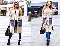 Женское стильное кашемировое пальто с меховыми карманами