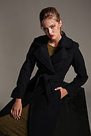 Женское пальто из вареной шерсти с поясом