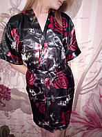 Женский короткий атласный комплект халат