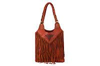 Кожаная коричневая сумка с бахромой от украинского производителя