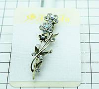 530. Старинные броши ветви цветов с камнями, броши под старину (размерная сетка 1 см)