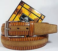 Ремень кожаный рыжий в комбинации с замшей Tony Perotti 1001