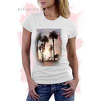 Футболка белая женская с пальмами Miami Beach