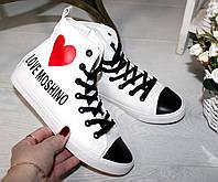Кеды женские белые высокие сердце LOVE MOSHINO