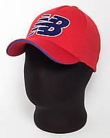 """Стильная красная бейсболка с логотипом """"NB"""" и синим кантом лакоста пятиклинка"""