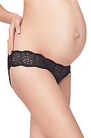 Бавовняні трусики з мереживом для вагітних, чорні 551