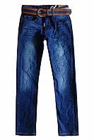 Джинсы с crinkle-эффектом и ремнем для подростка; 152, 158 размер, фото 1