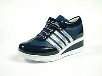 Детская обувь ботинки-кроссовки демисезонные для девочки р.31-33 ТМ Миле, код 105-109 т.Синий