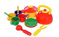 Набор игрушечной детской посуды Юника 16 элементов с чайником.