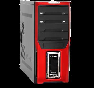 Компьютерный корпусCrown Diamond CMC-D28, чёрный с красным, без БП