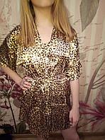 Женский атласный леопардовый комплект халат