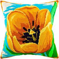 Набор для вышивки крестом Чарівниця V-61 Подушка Желтый тюльпан