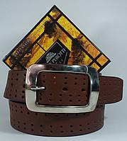 Уценка!Кожаный ремень коричневый с перфорацией Tony Perotti  300/40 (Италия)