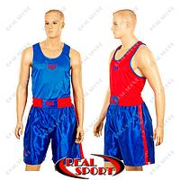 Боксерская форма Everlast, двухсторонняя, МА-6010-B (PL, р-р XS-XL, футболка сине-красная, шорты синие)
